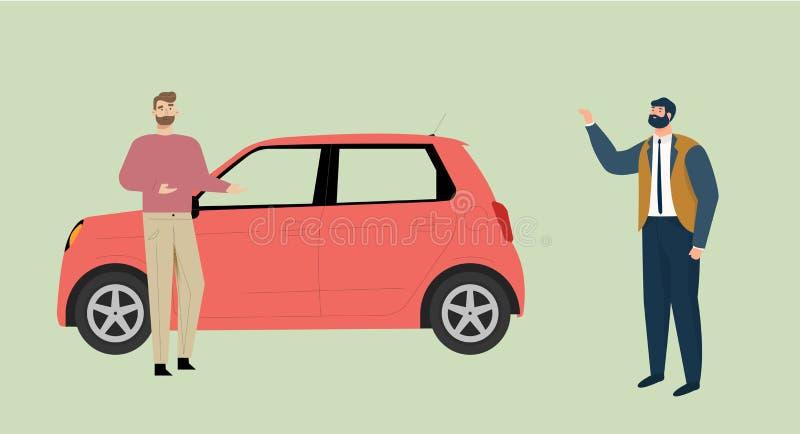 L'homme d'affaires soulève sa main cause un taxi qu'un homme près de la voiture offre le service de transport illustration libre de droits