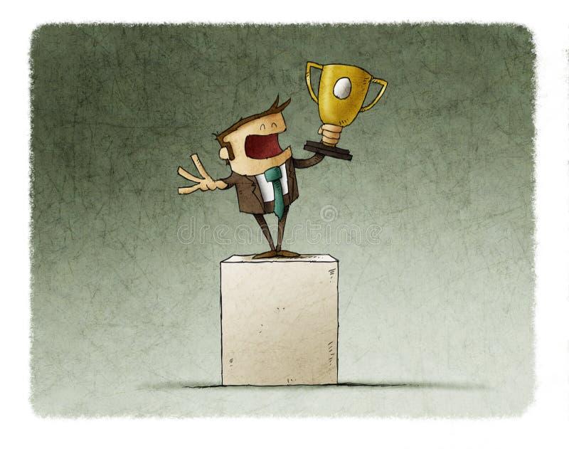 L'homme d'affaires soulève un trophée illustration de vecteur