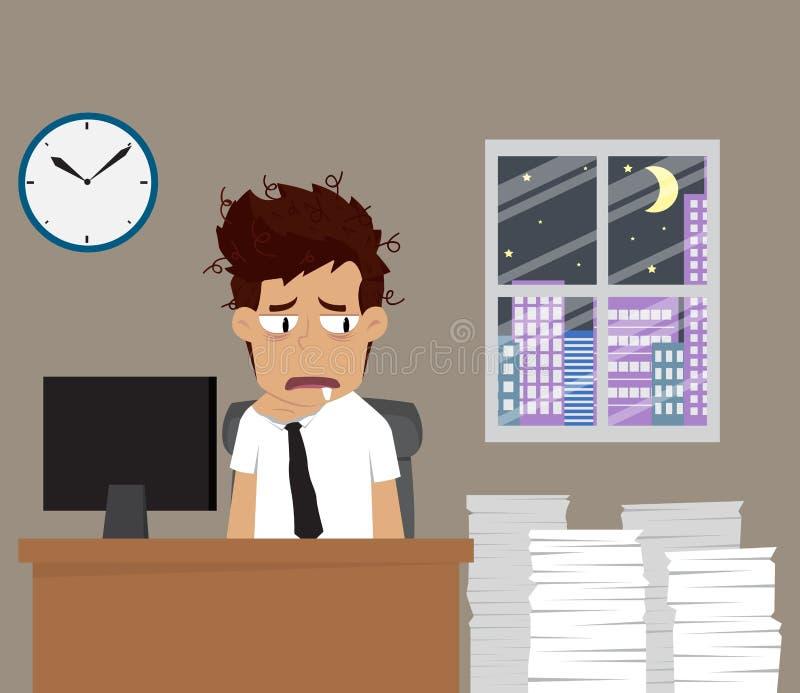 L'homme d'affaires supportent le travail tard la nuit illustration libre de droits