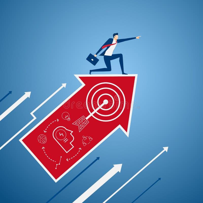L'homme d'affaires sur le graphique de flèche de croissance avec des icônes dirigeant le doigt et recherchant le succès, occasion illustration de vecteur