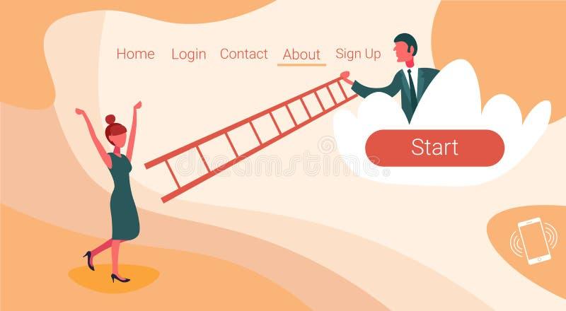 L'homme d'affaires sur le nuage tenant le collègue de femme d'escaliers d'échelle montant des couples team le concept fonctionnan illustration stock