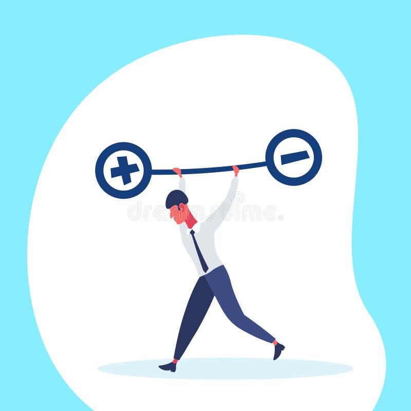 L'homme d'affaires tenant des échelles d'équilibre de poids plus la dette de signe moins prêtent à concept de crise le mâle négat illustration libre de droits