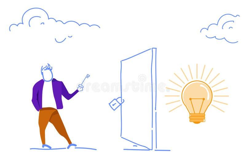 L'homme d'affaires tenant la clé ouvrent créatif ouvert de concept d'accès de succès d'innovation d'idée de lampe fermé par caden illustration libre de droits