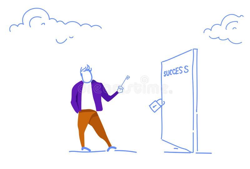 L'homme d'affaires tenant la clé ouvrent le croquis horizontal de nouvelles occasions ouvertes de concept d'accès de succès de po illustration de vecteur