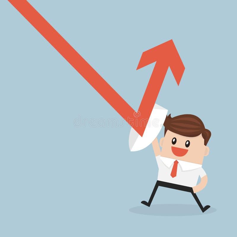 L'homme d'affaires tenant le bouclier empêchent de vers le bas tendent le graphique pour profiter illustration stock
