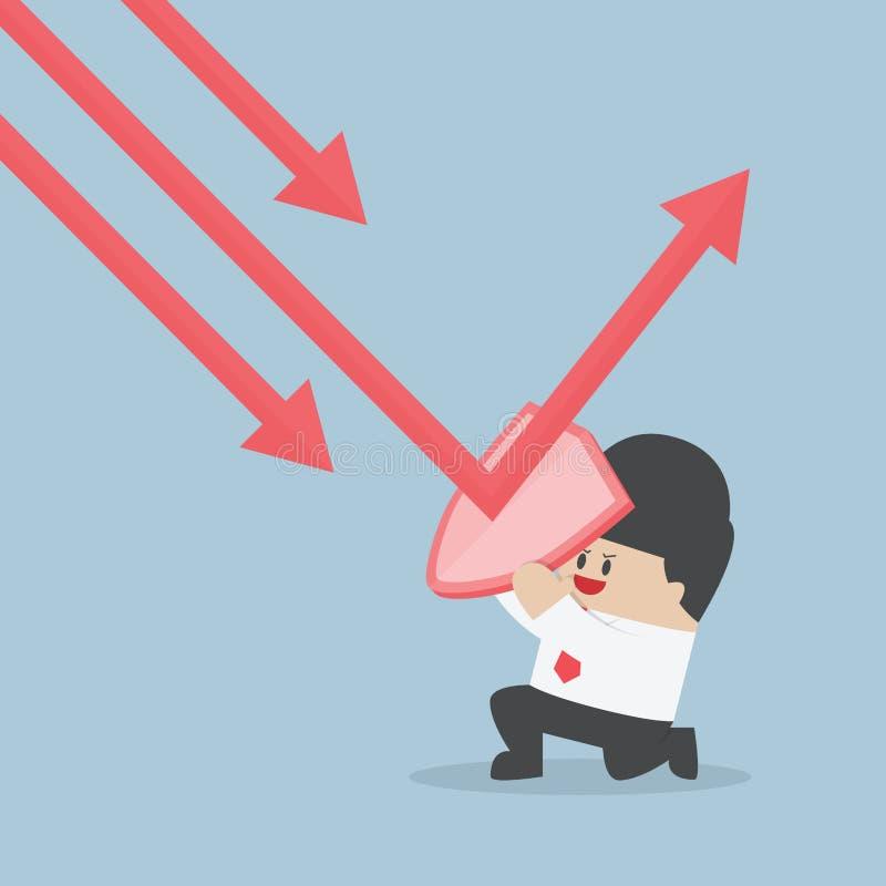 L'homme d'affaires tenant le bouclier empêchent de vers le bas tendent le graphique vers le prot illustration de vecteur