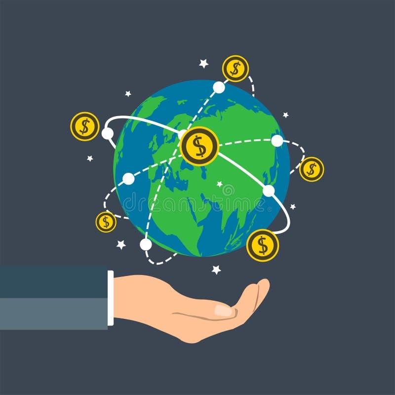 L'homme d'affaires tenant le globe de la terre, participation de main d'échelle de croissance de concept de pièce de monnaie du d illustration de vecteur