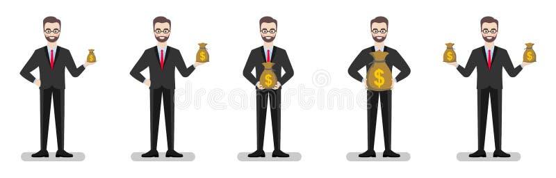 L'homme d'affaires tient des sacs d'argent de volume différent illustration libre de droits