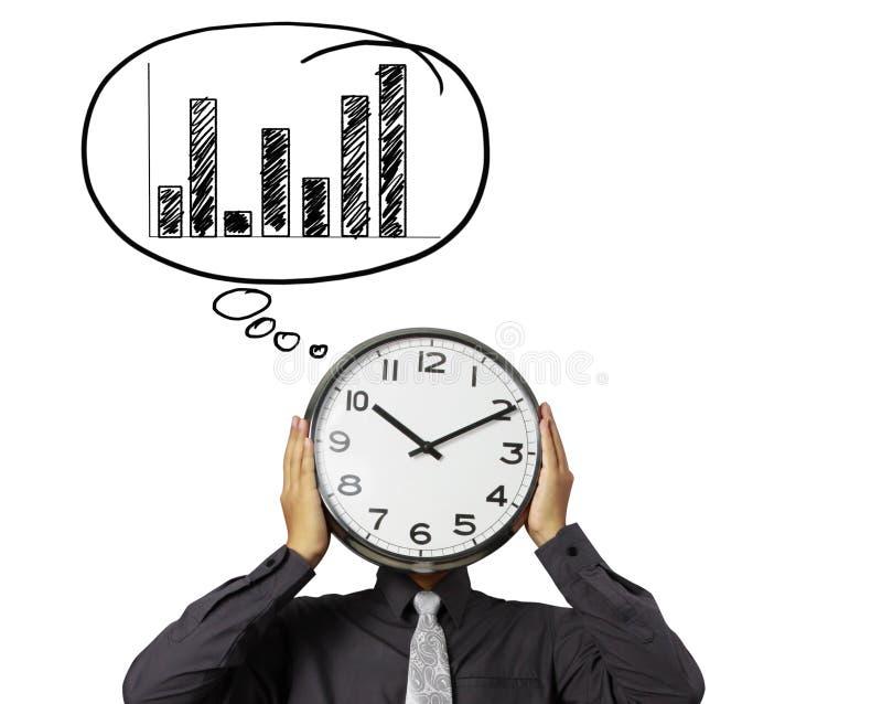 L'homme d'affaires tient l'horloge de la tête illustration stock