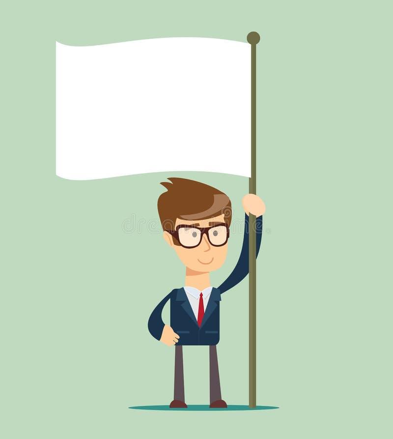 L'homme d'affaires tient le drapeau blanc de la reddition Main tenant le drapeau vide illustration de vecteur