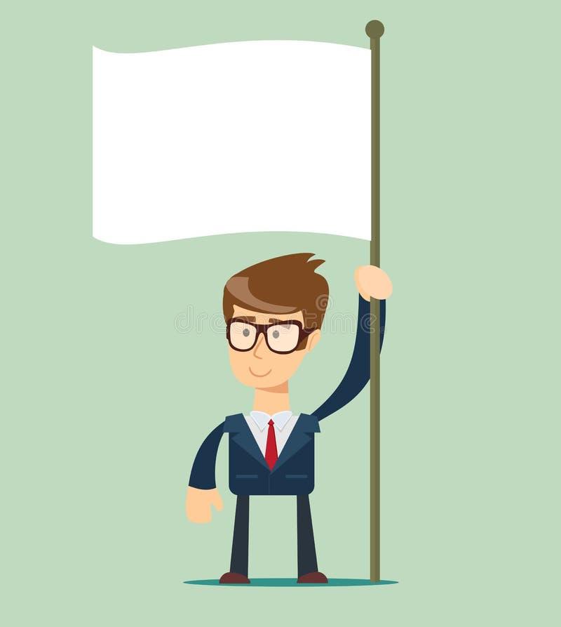 L'homme d'affaires tient le drapeau blanc Main tenant le drapeau vide illustration stock
