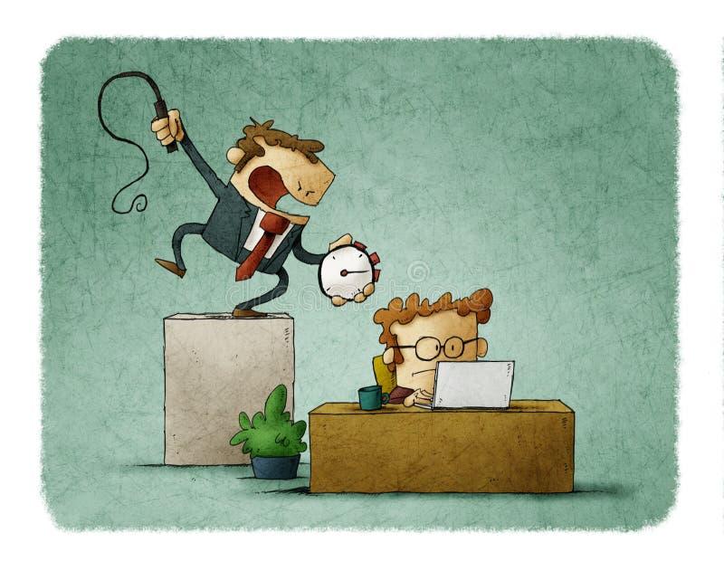 L'homme d'affaires tient un chronom?tre et un fouet ? disposition, et un homme d'affaires travaille dur sous lui Concept de temps illustration libre de droits