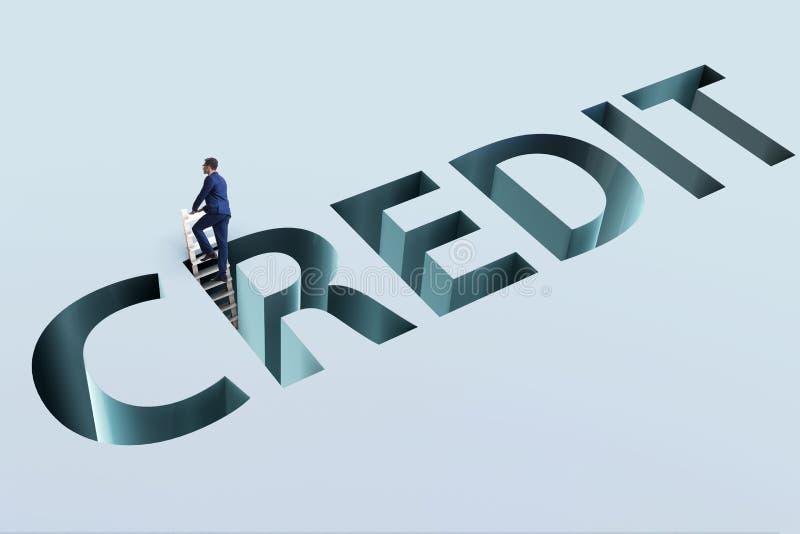 L'homme d'affaires tombant dans le piège d'emprunter la dette et le crédit illustration libre de droits