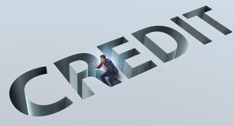 L'homme d'affaires tombant dans le piège d'emprunter la dette et le crédit illustration de vecteur