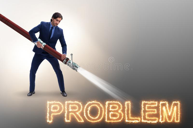 L'homme d'affaires traitant avec succès des problèmes illustration de vecteur
