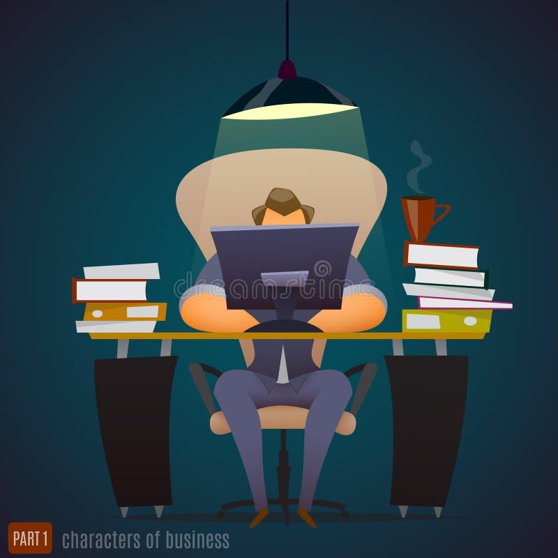 L'homme d'affaires travaille dur à un bureau très tard illustration stock