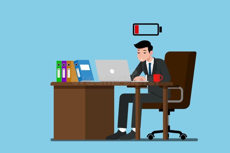 L'homme d'affaires travaillent très épuisé avec hors de l'énergie illustration stock