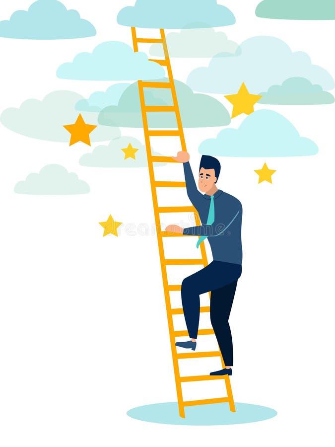 L'homme d'affaires, un homme monte les escaliers en bois au ciel Précipitation à vivre Dans le vecteur plat de bande dessin?e min illustration de vecteur