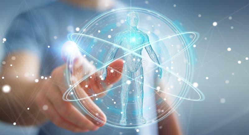 L'homme d'affaires utilisant l'interface numérique 3D de balayage de corps humain de rayon X ren illustration stock