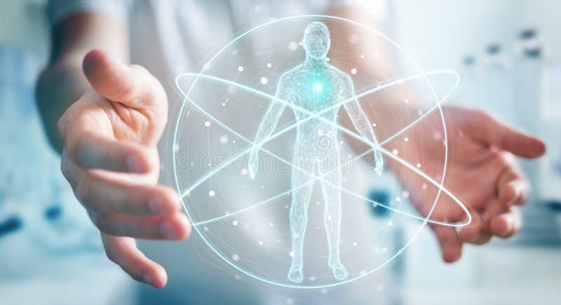 L'homme d'affaires utilisant l'interface numérique 3D de balayage de corps humain de rayon X ren illustration libre de droits
