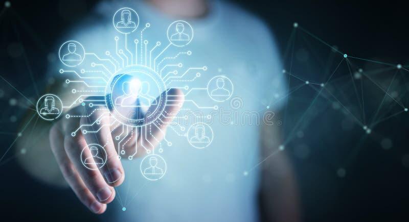 L'homme d'affaires utilisant la ligne mince icônes sociales de réseau connectent illustration stock