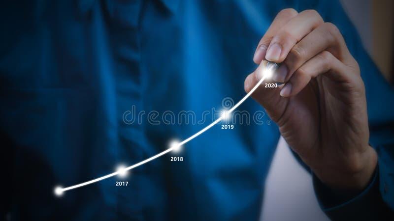 L'homme d'affaires utilisant les graphiques de dessin de stylo rayent le graphique croissant d'année images libres de droits