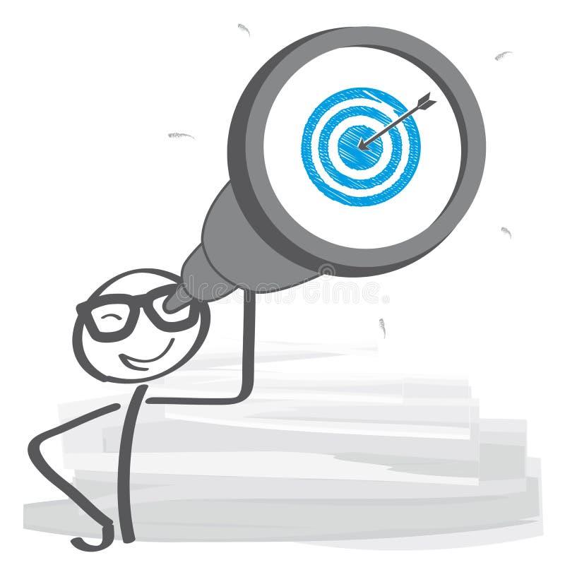 L'homme d'affaires utilise son télescope illustration de vecteur