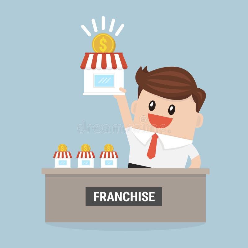 L'homme d'affaires veulent augmenter ses affaires, concept de concession illustration stock