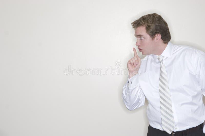L'homme d'affaires veut le silence images stock