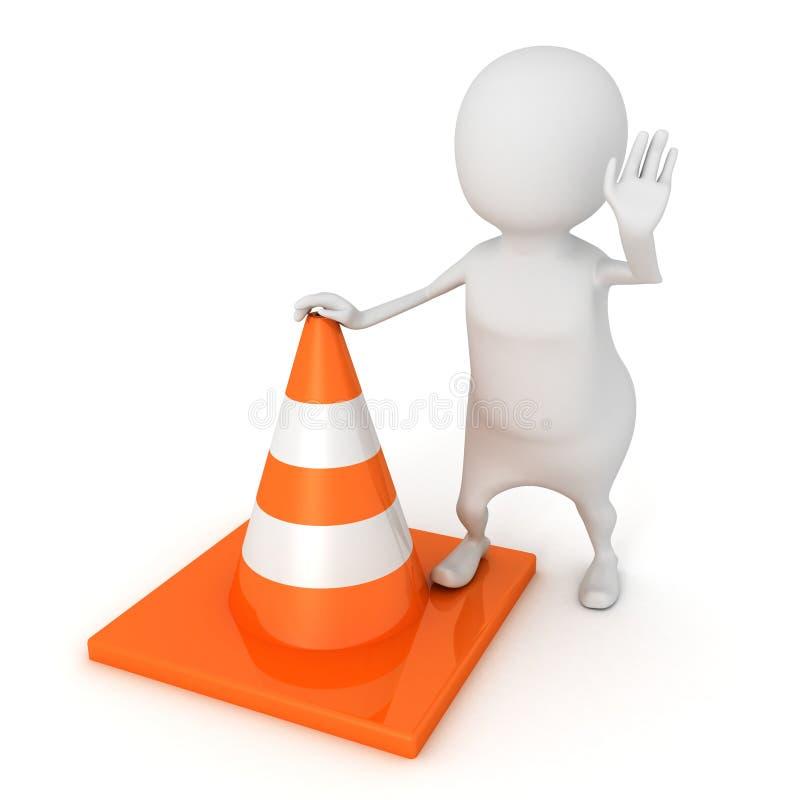 l'homme 3d arrêtent dedans la position avec le cône du trafic de construction de routes illustration de vecteur