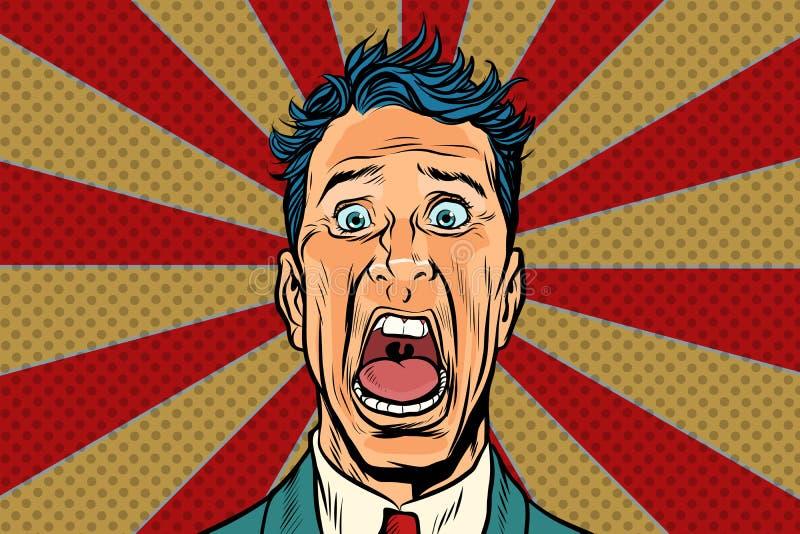 L'homme d'art de bruit crie dans l'horreur, visage de panique illustration stock