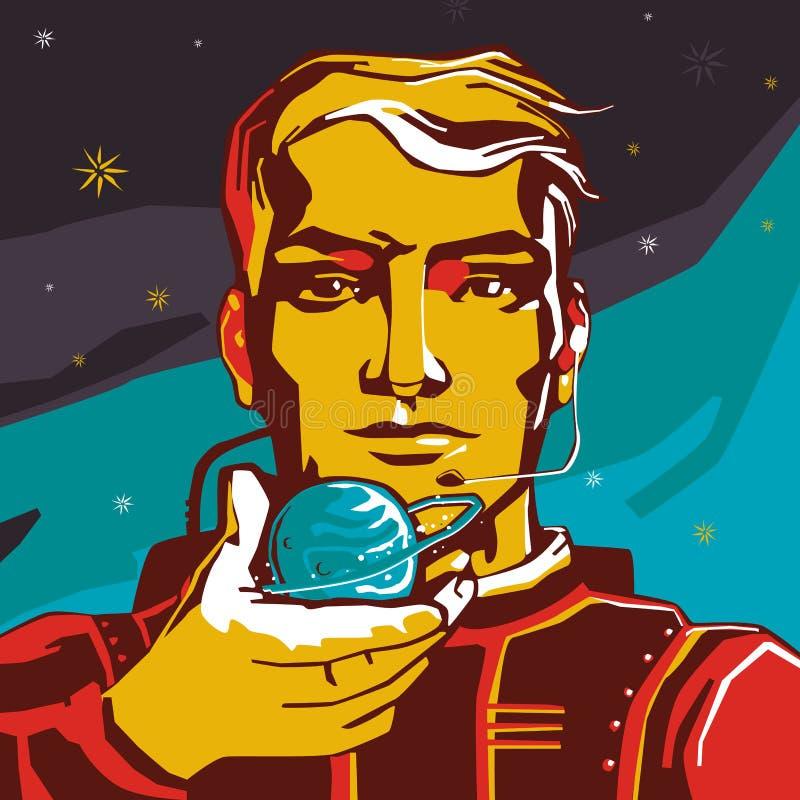 L'homme d'astronaute tient la planète disponible avec l'anneau autour de elle sur les étoiles de fond illustration stock