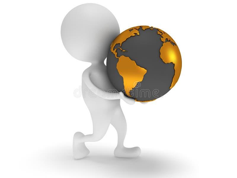 L Homme 3d Blanc Portent Le Globe De Planete De La Terre Illustration Stock Illustration Du Globe Portent 39948994