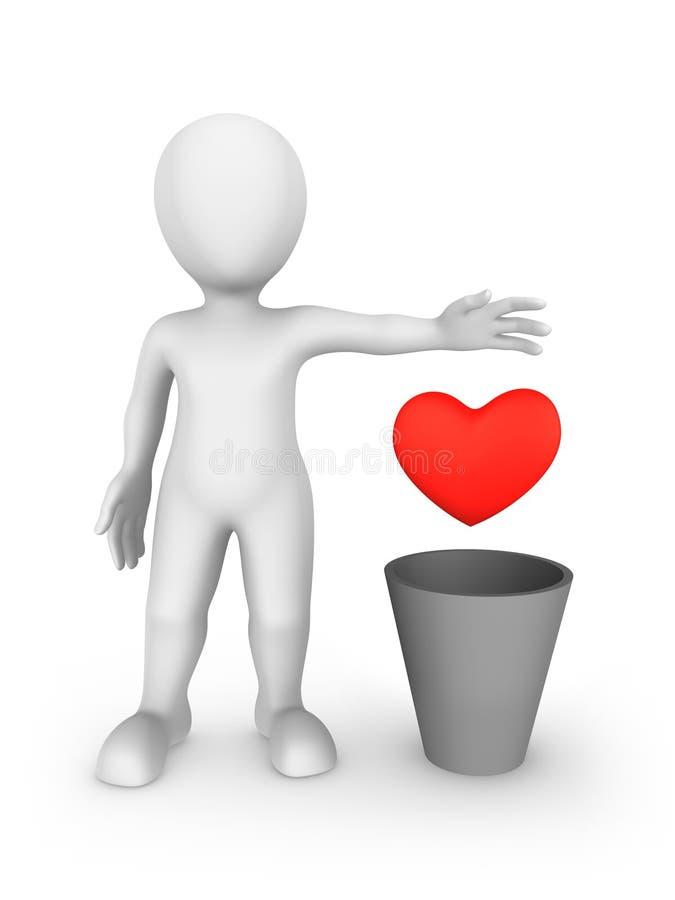 l'homme 3d cruel jette le coeur dans des déchets illustration libre de droits