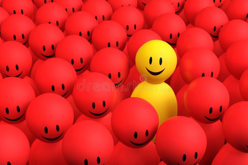 l'homme 3d jaune sort d'une foule rouge illustration stock