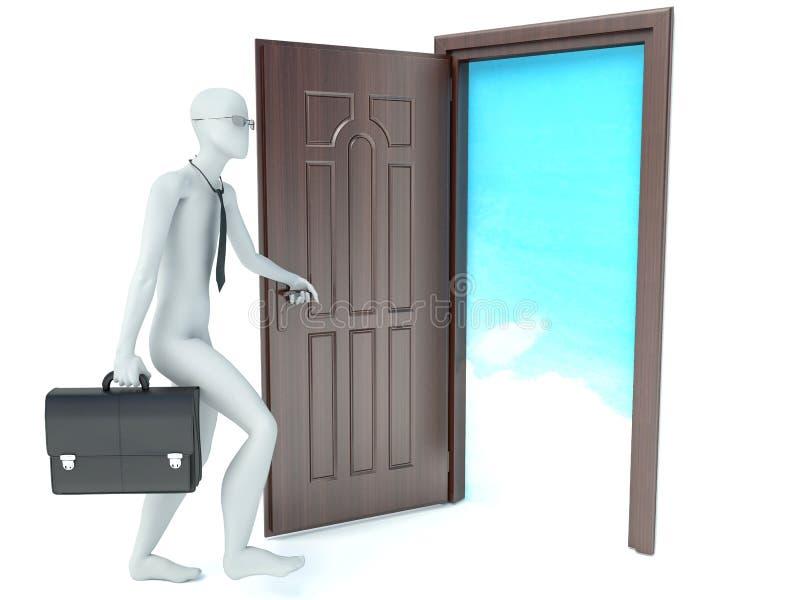l'homme 3d ouvre une porte Ciel illustration stock