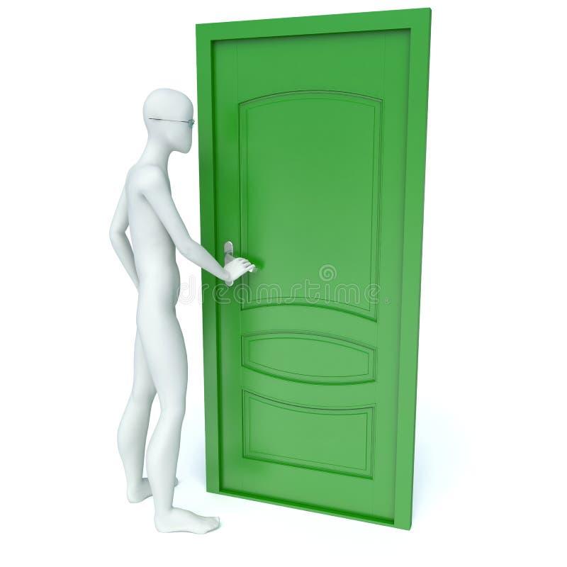 l'homme 3d ouvre une porte verte illustration de vecteur