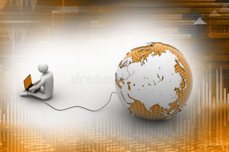 l'homme 3d s'asseyent près du globe avec l'ordinateur portable illustration stock
