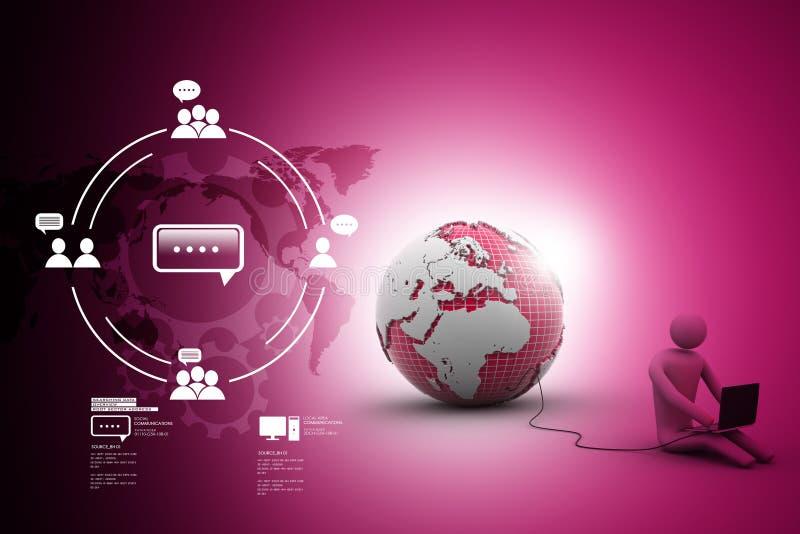 l'homme 3d s'asseyent près du globe avec l'ordinateur portable illustration libre de droits