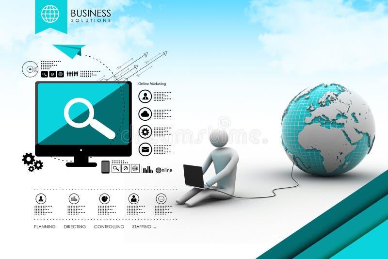 l'homme 3d s'asseyent près du globe avec l'ordinateur portable illustration de vecteur
