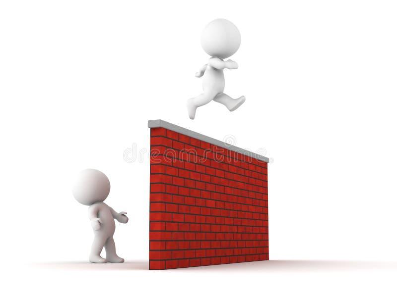 l'homme 3D saute par-dessus le mur illustration libre de droits