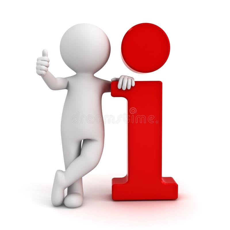l'homme 3d se penchant sur l'icône rouge de l'information et montrant manie maladroitement vers le haut du geste de main illustration stock