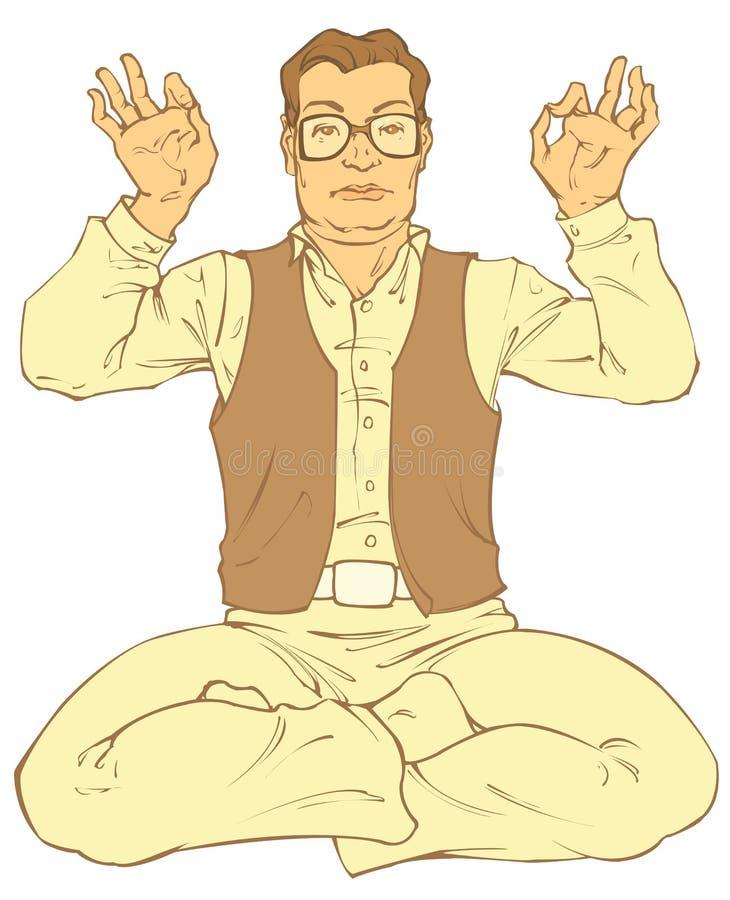 L'homme d'une cinquantaine d'années médite illustration libre de droits