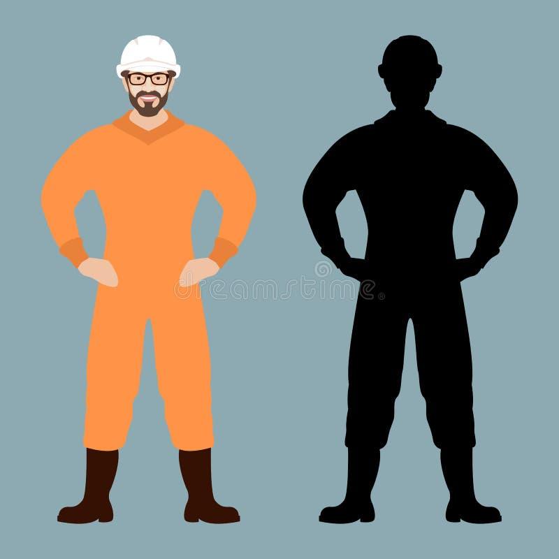 L'homme dans des combinaisons protectrices dirigent l'avant plat de style d'illustration illustration stock