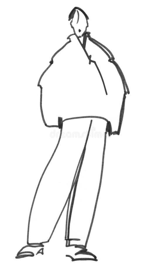 L'homme dans la veste illustration stock