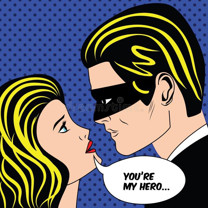 L'homme dans le masque noir de super héros et la femme aiment des couples dans le style comique d'art de bruit de vintage illustration libre de droits