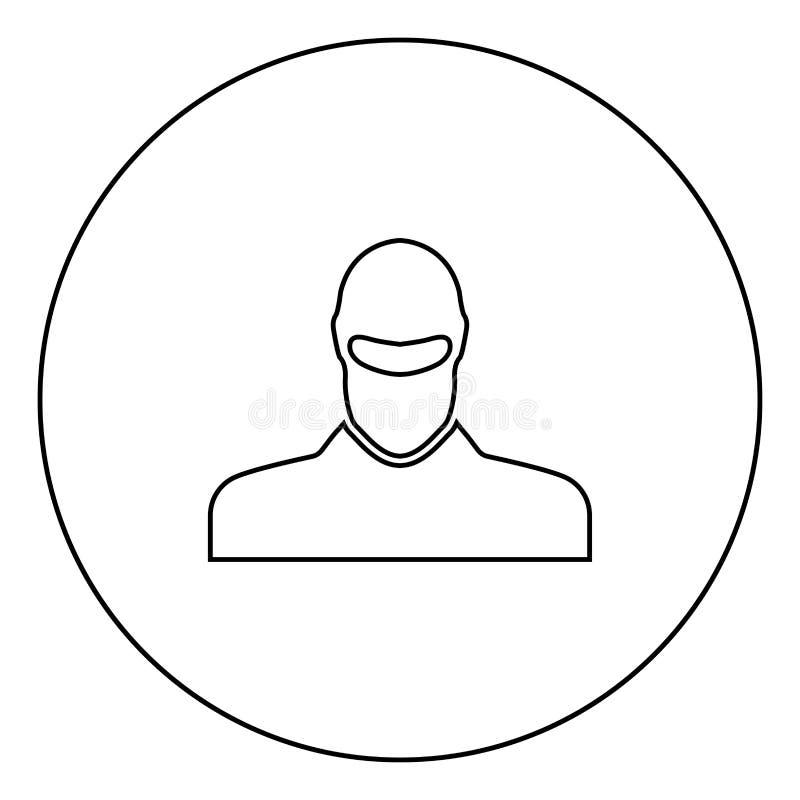 L'homme dans le passe-montagne ou les pasamontanas noircissent le contour d'icône dans l'image de cercle illustration stock