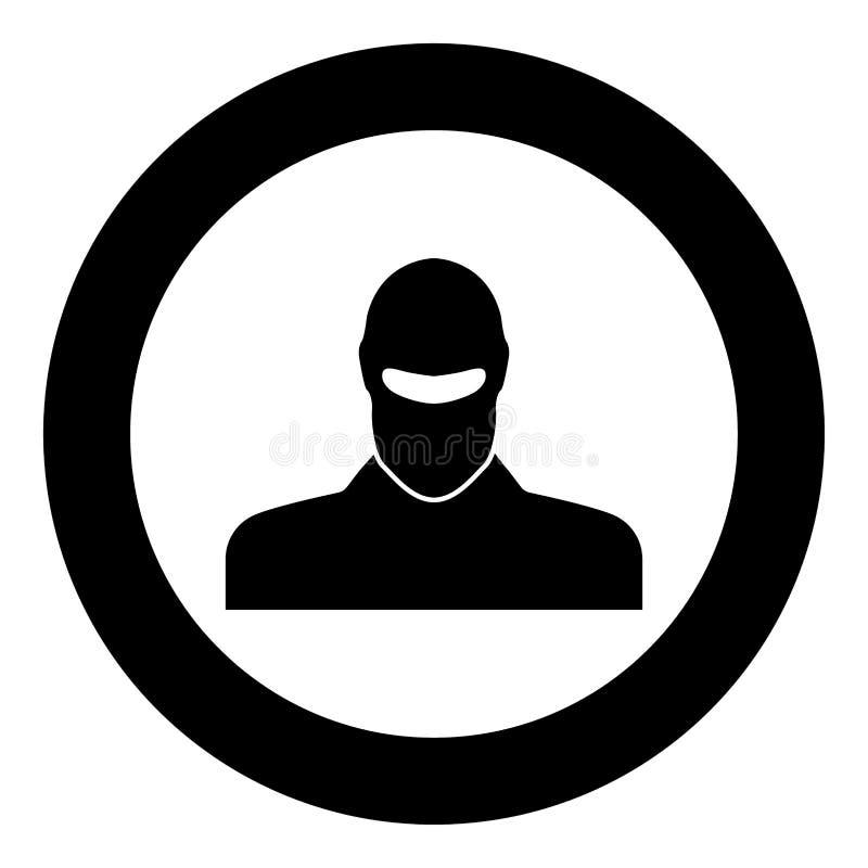 L'homme dans le passe-montagne ou les pasamontanas noircissent l'icône en cercle illustration de vecteur