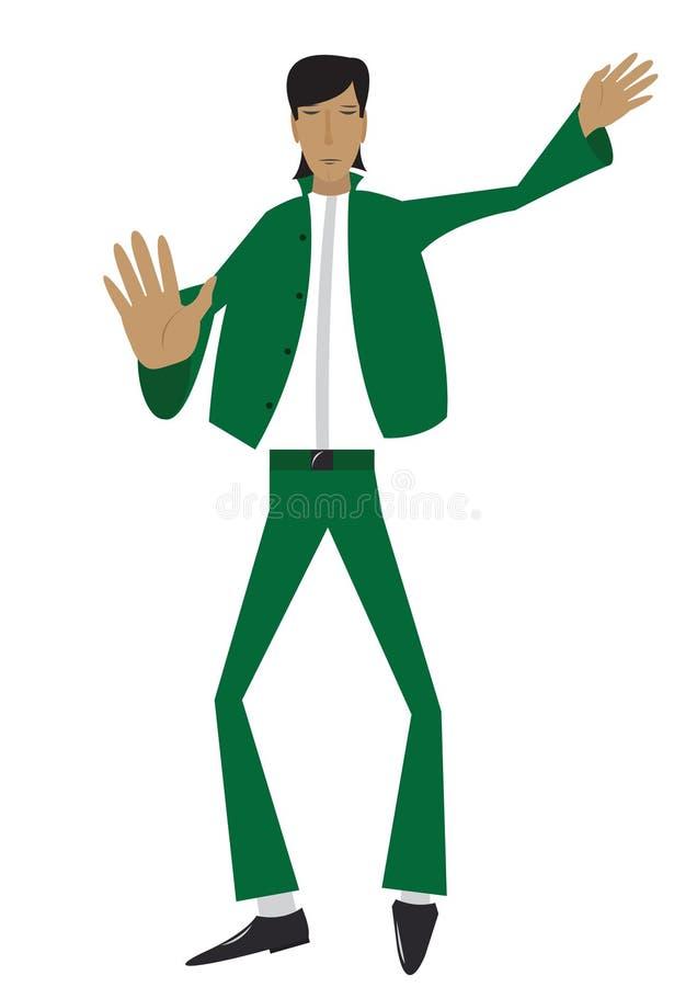 L'homme dans le procès vert illustration de vecteur
