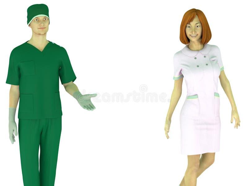 L'homme dans médical frotte et fille dans l'uniforme d'infirmière illustration libre de droits